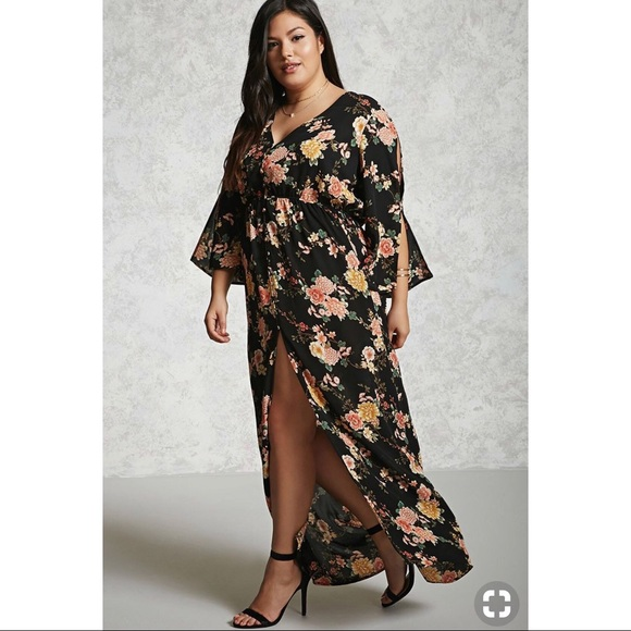 732e2e7f1d9 Forever 21 Dresses   Skirts - Forever 21 Black Floral Maxi Dress - Plus Size
